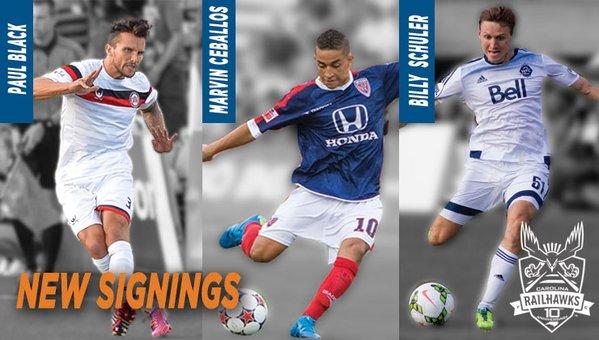 Marvin Ceballos (centro) ya tiene nuevo equipo. (Foto Prensa Libre: Twitter Carolina Rail Hawks)