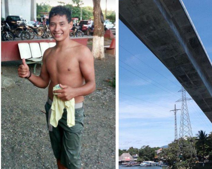 El joven estudiante de 19 años se lanzó del puente sobre el Río Dulce, Izabal, el domingo último. (Foto Prensa Libre: Facebook Yoshi Martínez Edinson López)