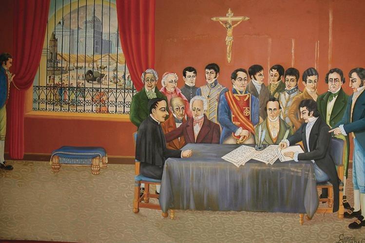 Momento en que representantes de la sociedad deciden firmar la independencia. (Foto: Hemeroteca PL)