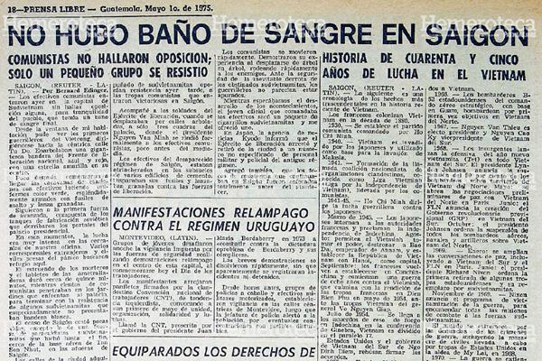 Nota periodística del 1 de mayo de 1975 sobre la toma de Saigón. (Foto: Hemeroteca PL)