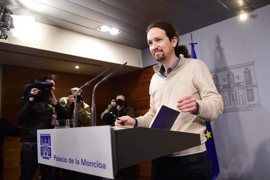 El líder de la izquierda radical, Podemos, negó su apoyo a Mariano Rajoy. (Foto Prensa Libre: AFP).