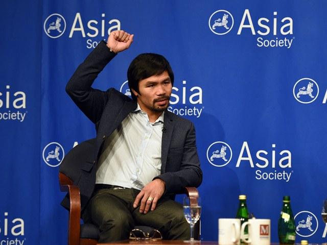 Manny Pacquiao atendió a la prensa en Nueva York. (Foto Prensa Libre: AFP)