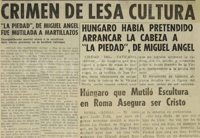 Notas de Prensa Libre en 1972 informando sobre el atentado a La Piedad. (Foto: Hemeroteca PL)