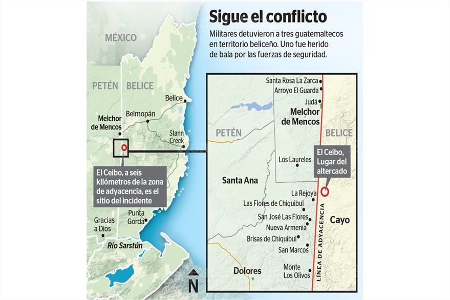 Mapa de Belice, señalando la zona de conflicto. (Foto: Hemeroteca PL)