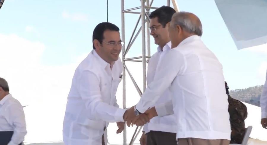 Los presidentes de Guatemala, Honduras y El Salvador durante la inauguración oficial de la Fuerza Antipandillas. (Foto Prensa Libre: Cortesía)