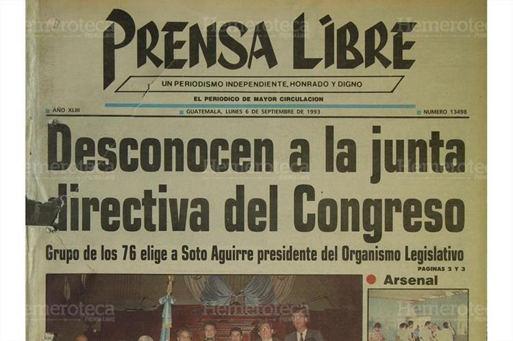 Portada del 6/9/1993 diputados que integran el grupo de los 76 desconocieron la junta directiva presidida por José Fernando Lobo Dubón y en su lugar eligieron como presidente al licenciado Arturo Soto Aguirre, del FRG (foto: Hemeroteca PL)