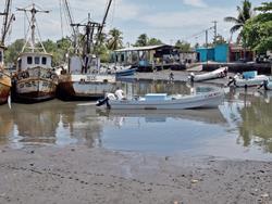 El azolvamiento del Canal de Chiquimulilla es uno de los problemas que afrontan los pescadores de Escuintla, pues deben esperar a que la marea suba para poder navegar. (Foto Prensa Libre: Enrique Paredes)