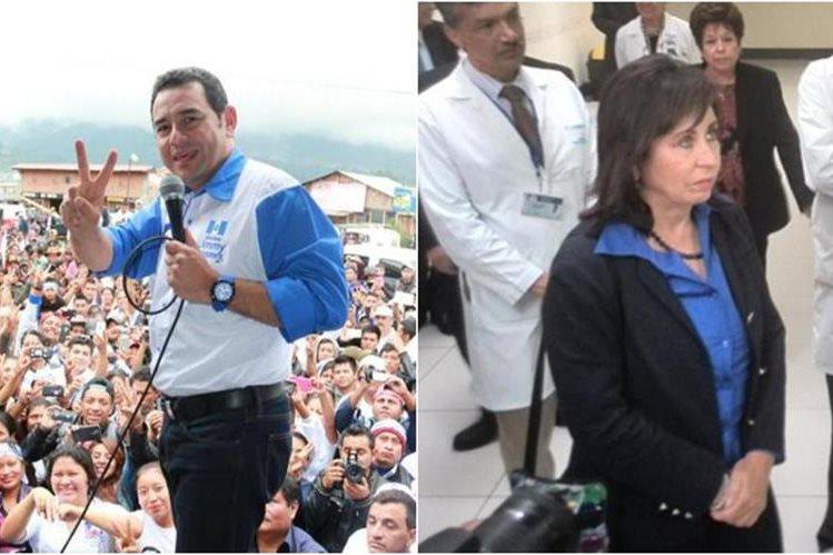 Jimmy Morales y Sandra Torres intensifican sus giras proselitistas de cara al balotaje por la presidencia. (Foto Prensa Libre)