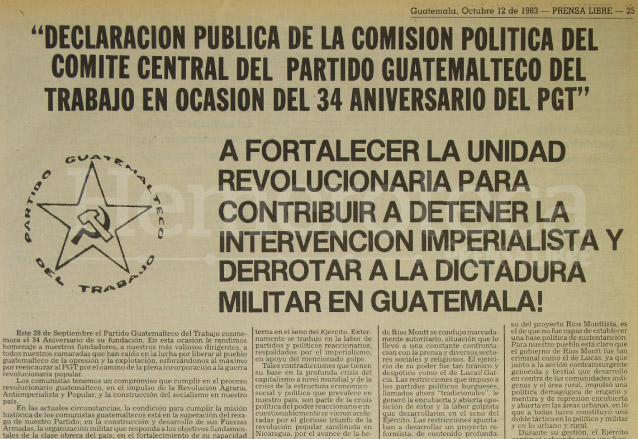 Encabezado del manifiesto del Partido Guatemalteco del Trabajo, secuestradores del periodista Pedro Julio García, quienes pidieron la publicación de este documento en los diferentes medios de comunicación como condición de su liberación. (Foto: Hemeroteca PL)