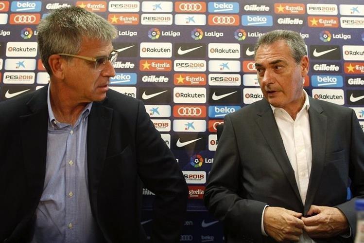 Jordi Mestre en la presentación de Josep Segura como nuevo mánager deportivo del área de futbol del Barcelona. (Foto Prensa Libre: EFE)