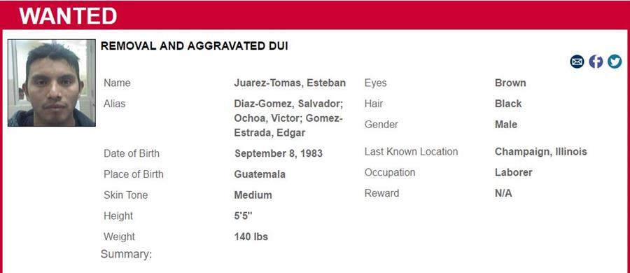 Especificaciones de Inmigración para la búsqueda del guatemalteco Esteban Juárez Tomás. (Foto Prensa Libre: ICE).