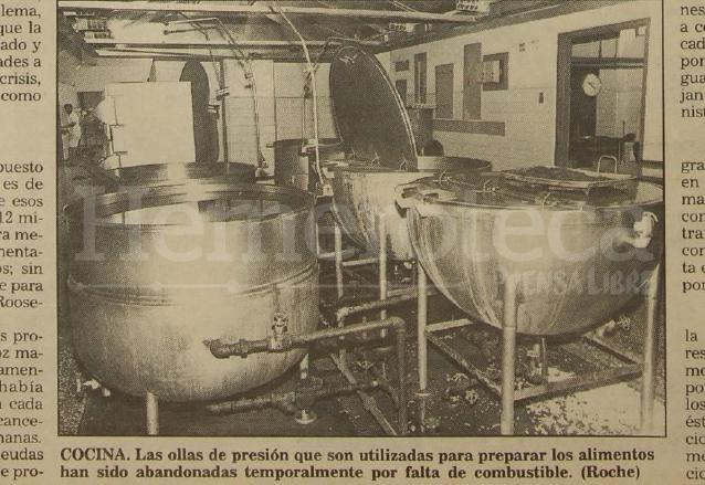 El área de cocina en el Roosevelt también resultó afectada por la falta de combustible, consecuencia del impago de la deuda con proveedores en 1993. (Foto: Hemeroteca PL)