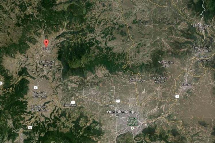 Mapa de Cajolá, Quetzaltenango, donde la víctima fue secuestrada. (Foto Prensa Libre: Google Maps)