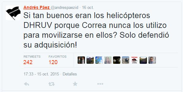 Este fue el tuit de Andrés Paez que desató la furia del presidente Correa.