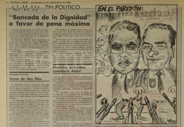 Diputados se pronunciaban sobre la aplicación de la pena de muerte. Nota del 2 de septiembre de 1989. (Foto: Hemeroteca PL)