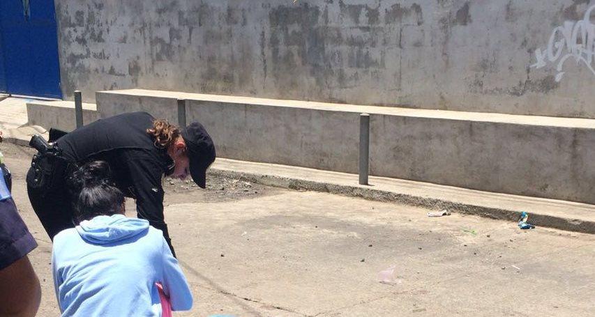 Lugar donde murió baleado Franklin Enrique Sandoval, en Palín, Escuintla. (Foto Prensa Libre: Bomberos Voluntarios).