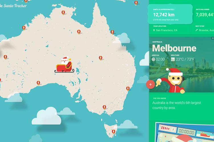 """""""Santa Tracker"""" ofrece una opción para seguir en tiempo real el momento en el que Papá Noel entregue los regalos (Foto Prensa Libre: Google)."""