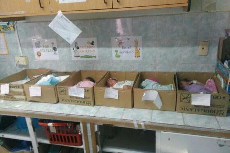 La imagen de recién nacidos en cajas de cartón fue compartida en las redes sociales. (Foto Twitter/@manuelferreiraG).