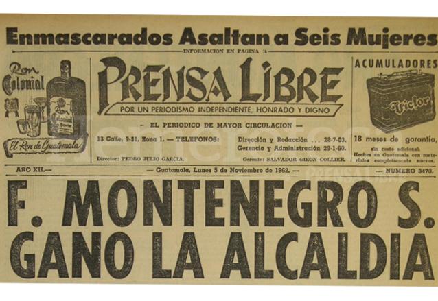 Titular de Prensa Libre del 5/11/1962. (Foto: Hemeroteca PL)