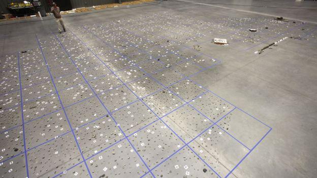 Algunos de los 25.000 fragmentos de fósiles están dispuestos en una gran sala. BARCCROFT PRODUCTIONS/BBC
