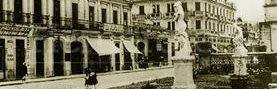 Sexta avenida y 13 calle zona 1, con estatuas retiradas de la Avenida de la Reforma. Década de 1930-1940. (Foto: Hemeroteca PL)