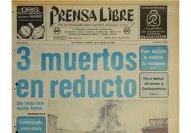 Portada de Prensa Libre del 13/1/1984 donde se informaba sobre el hallazgo de un reducto guerrillero. ( Foto: Hemeroteca PL)