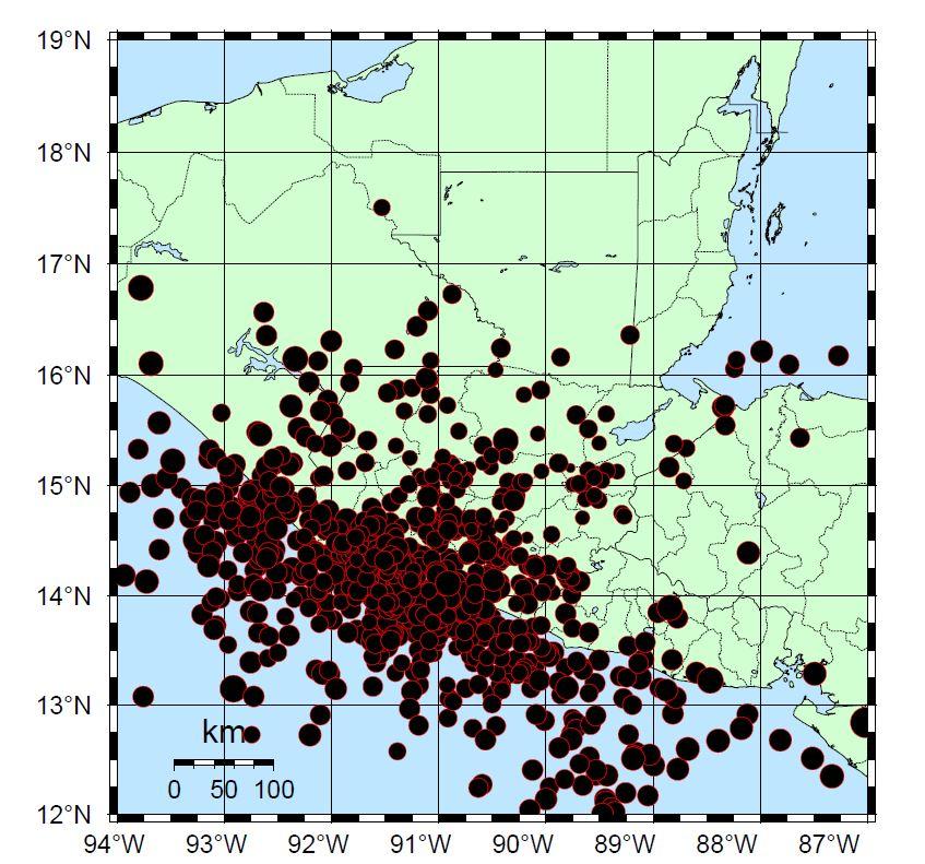 Mapa de los sismos registrados en el 2016 por el Insivumeh. (Foto Prensa Libre: Insivumeh)