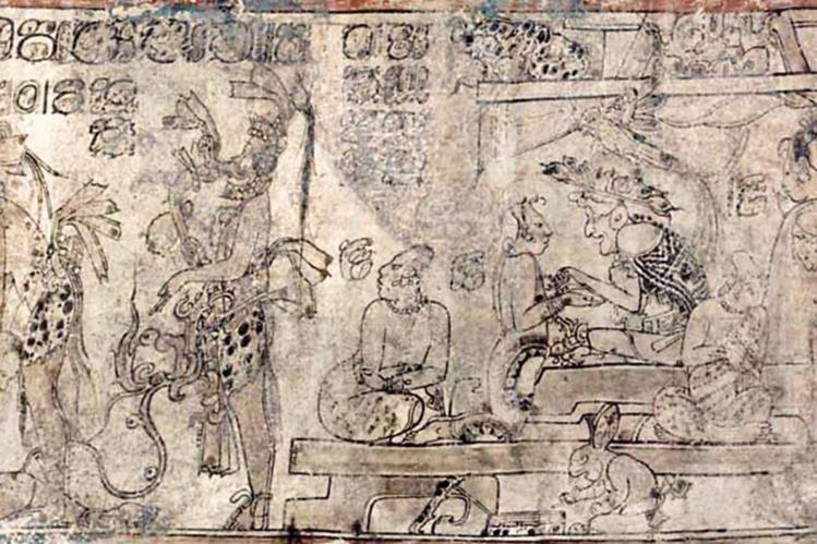 El conejo que aparece en la parte inferior de esta vasija está asociado en la mitología maya a la escritura.