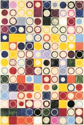"""Mónica Torrebiarte  entrega esta serie de grabados llamados Códigos, que combinan los colores, los círculos y los cuadrados en su obra. """"Se inspiraron en la psicología de Carl Jung, que decía que la vida es como un círculo"""", explica la autora."""
