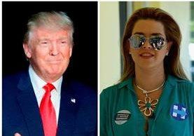 Donald Trump arremete contra Alicia Machado después del primer debate presidencial, donde Hillary Clinton sacó a relucir el maltrato del magnate hacia la ex reina de belleza. (Foto Prensa Libre: AP y AFP)