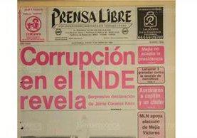 Portada de Prensa Libre del 12/01/1984 Jaime Cáceres Knox informo sobre actos de corrupción en el INDE. (Foto: Hemeroteca PL)