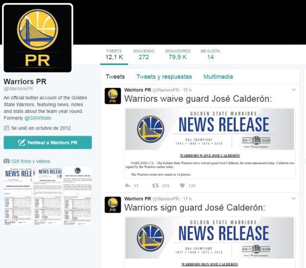 Los anuncios de contratación y despedida de Calderón en una de las cuentas oficiales de los Warriors en Twitter. (WARRIORS/TWITTER)