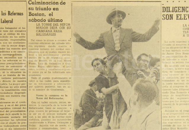 Nota periodística de la Portada de Prensa Libre del lunes 5 de mayo de 1952, donde se detallaban los pormenores de la llegada de Mateo Flores, campeón de la Maratón de Boston de 1952. (Foto: Hemeroteca PL)