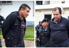 Los detenidos Érick Estuardo Carias Hernández y Genaro Pineda Rojas son trasladados a la Torre de Tribunales. (Foto Prensa Libre: PNC)