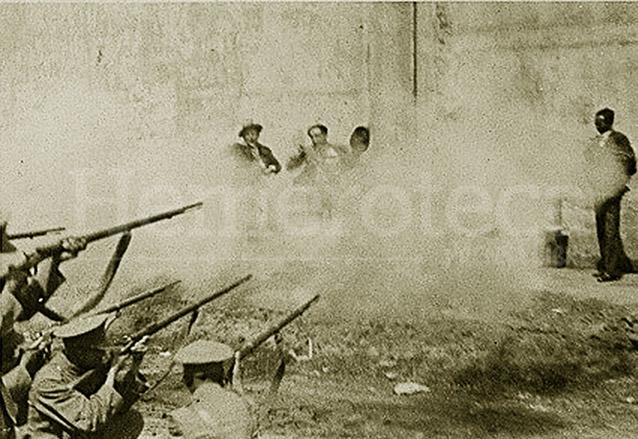 Muchos presos fueron pasados por las armas en el paredón de fusilamiento, en especial cuando Ubico aplicó la ley fuga. Fusilamiento de Eduardo Felice y compañeros, un caso polémico. (Foto: Hemeroteca PL)