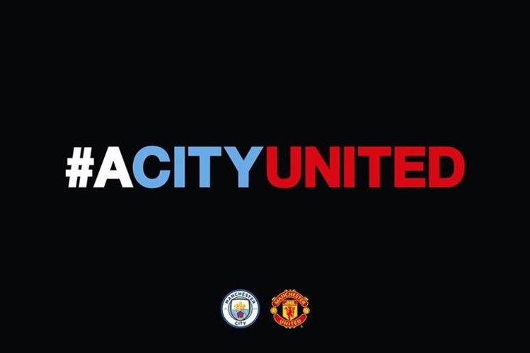 La rivalidad se queda en la cancha. El Mánchester City y el Mánchester United están unidos por una causa. (Foto Prensa Libre: Twitter)