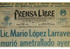 Titular de Prensa Libre del 9 de junio de 1977. (Foto: Hemeroteca PL)