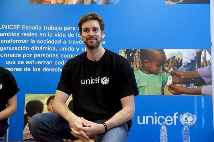 Pau Gasol bicampeón de la NBA y Embajador de UNICEF, durante la conferencia de prensa de la institución en Madrid. (Foto Prensa Libre: EFE)