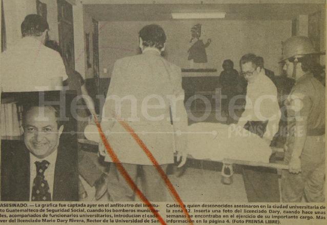 El cadáver del rector Dary Rivera es ingresado al anfiteatro del IGSS. En el recuadro el licenciado Dary en vida. (Foto: Hemeroteca PL)