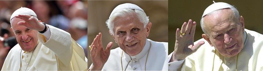 <em>Francisco, Benedicto XVI y Juan Pablo II forman parte de la historia de Cuba. (Fotos: Hemeroteca PL).</em>