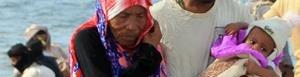 Desplazados por guerra en Yemen.