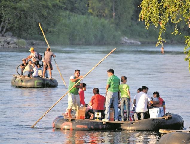 El río Suchiate, frontera natural entre Guatemala y México, es una zona de paso de decenas de miles de inmigrantes centroamericanos que buscan llegar a Estados Unidos. (Foro Prensa Libre: Hemeroteca PL)