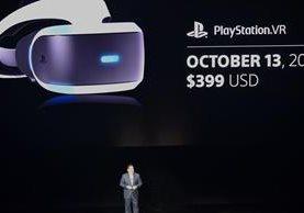 Shawn Layden, jefe de Sony Interactive Entertainment (SIE) Worldwide Studios, anuncia la fecha y precio del PlayStation VR, en el Auditorio Shrine de Los Ángeles, California, el 13 de junio. (Foto Prensa Libre: AFP).