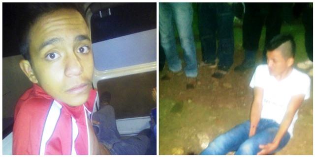 Dos supuestos extorsionistas fueron vapuleados durante la madrugada en San Juan Sacatepéquez. (Foto Prensa Libre: PNC)