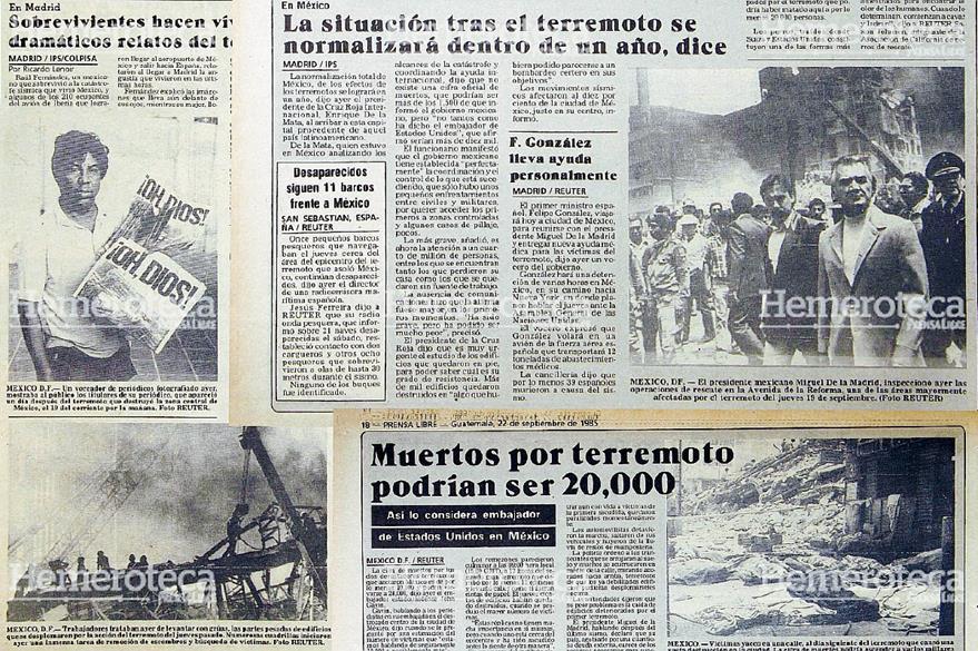 Diferentes notas del año 1985 donde se detalla el desastre provocado por el Terremoto en México. Foto: Hemeroteca PL