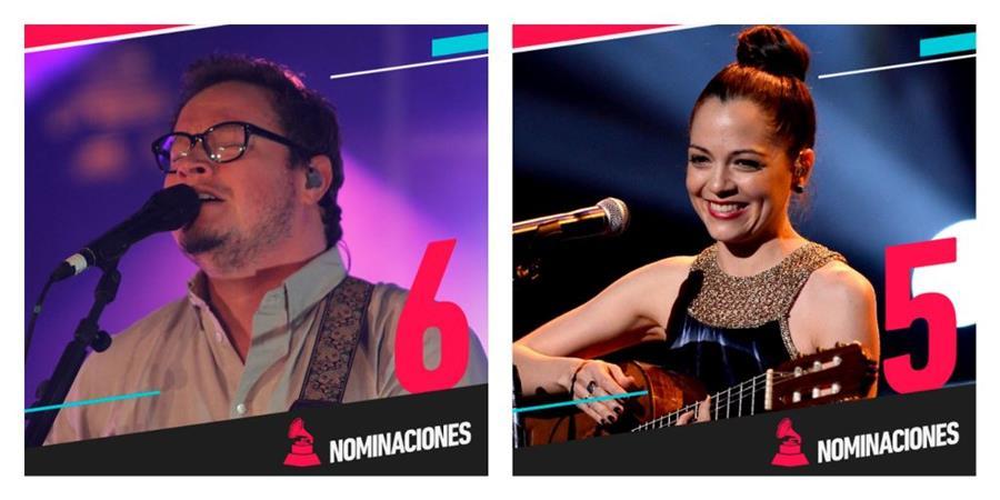 Leonel García y Natalia Lafourcade lideran postulaciones en Latin Grammy. (Foto Prensa Libre: Tomada de twitter.com/latingrammys)