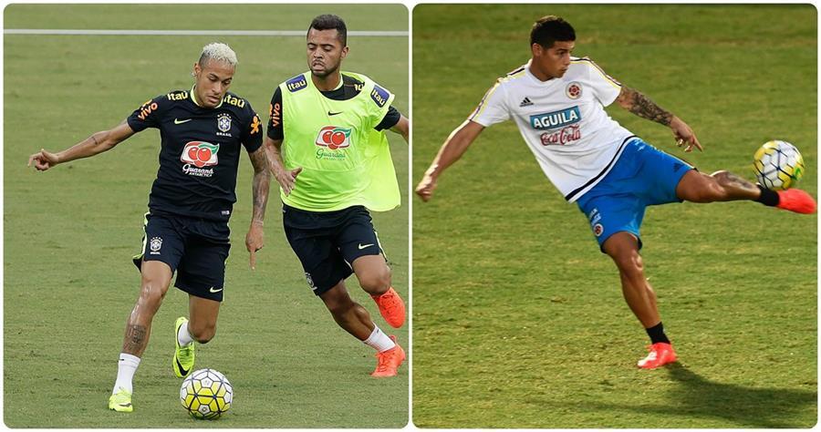 Neymar y James Rodríguez serán dos de los focos de atención durante el juego. (Foto Prensa Libre: AP y AFP)