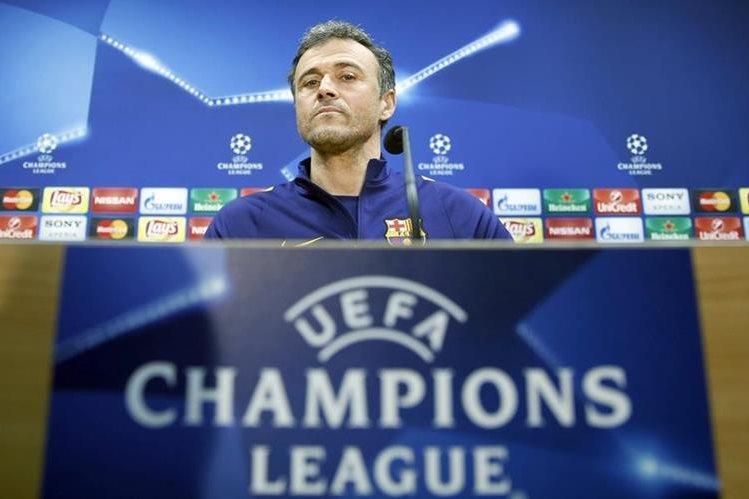 El entrenador del Barcelona, Luis Enrique en la conferencia previa al duelo de Champions League. (Foto Prensa Libre: EFE)