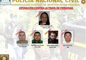 Estructura del grupo que obligaba a mujeres a prostituirse. Foto Prensa Libre: PNC.