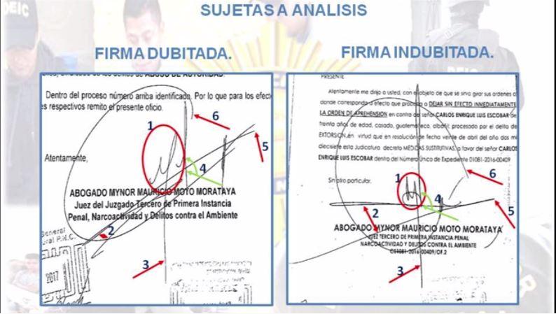 El análisis muestra varias diferencias entre los firmas. (Foto Prensa Libre: PNC)